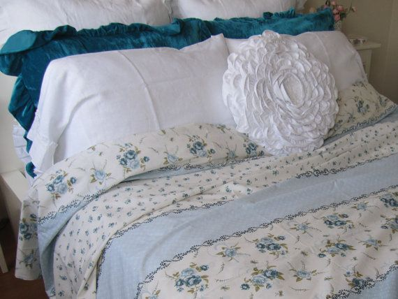 Blue White Floral Bedding Floral Duvet Cover Twin XL by BellaTurka
