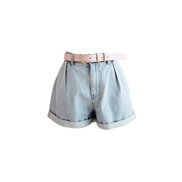Pink Belt Denim Shorts (3.915 RUB) ❤ liked on Polyvore featuring shorts, bottoms, pants, short, short shorts, jean shorts, buckle shorts, pocket shorts y light blue denim shorts