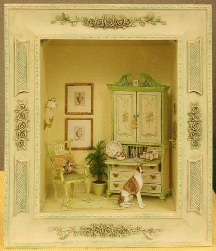 Miniature Writing Nook Scene in a framed window box by Kristine Hill from the fall 2009 Seattle Show