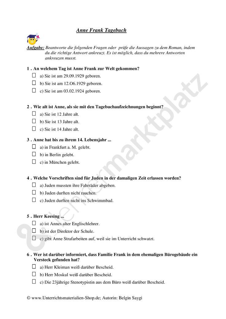 multiple choice test zu dem roman anne frank tagebuch