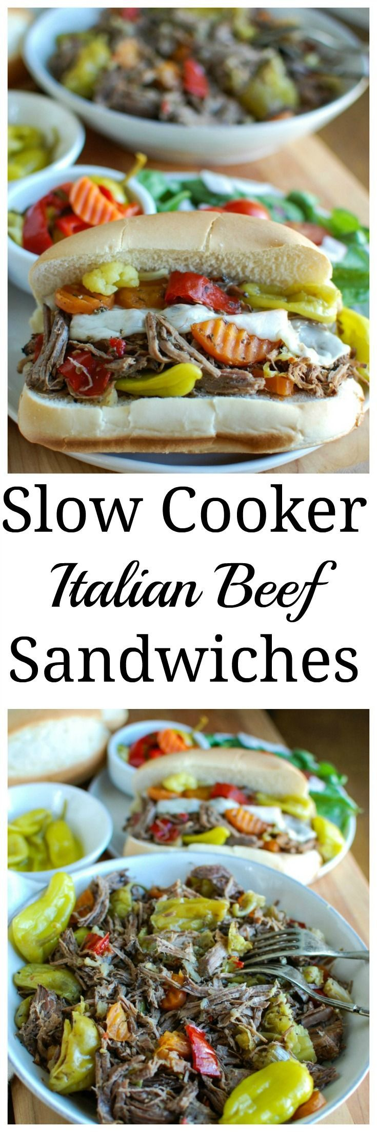 Slow Cooker Italian Beef Sandwiches make a great game day food or weeknight dinner that easily cooks in your crockpot.  Chuck roast is slowly cooked in Italian seasonings, beef broth and mixed with pepperoncini peppers and Giardiniera. Toast the beef in a hoagie bun with provolone cheese and extra pepperoncini and Giardiniera for the perfect sandwich.// A Cedar Spoon
