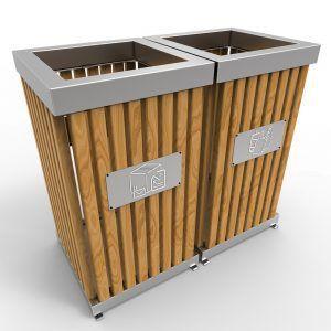 Boras Poubelle d'extérieur pour tri sélectif en bois et inox 50L à 100L 2F