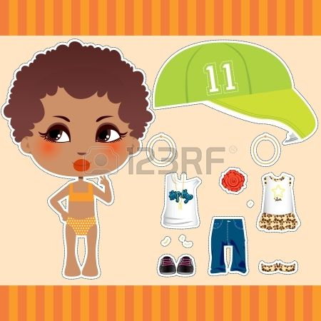Cute Afro American fashion paper doll girl clothes collection set Stock Vector