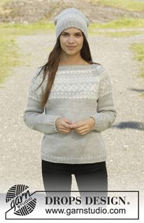 """Knitted DROPS jumper and hat with Norwegian pattern in """"Karisma"""". Size: S - XXXL. ~ DROPS Design"""