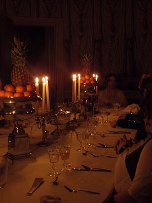 """A visual reminder that Georgian dining by candlelight wasn't only romantic - it was also a bit dim. Even the most formal table ablaze with candles still gave off only about as much total light as a modern 100 watt lightbulb. Photo from the fantastic historic costumer/historian Natalie Garbett."""