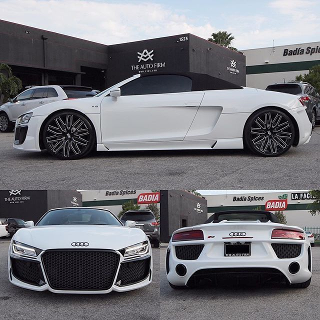 One Last Look At This Audi R8 Spyder New Body Kit Painted Snow White With Black Accents Custom Interior Sitting Audi R8 Spyder Sports Cars Luxury Audi R8