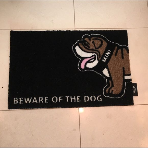 Beware of the Dog Mini Cooper Floor Mat Placemat Can be used as a floor mat. I used mine as a placemat for my dogs food. But my brother has one as his doormat. It's a little smaller than a traditional door mat tho. Mini Cooper Accessories