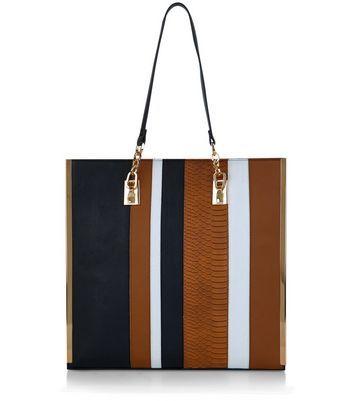Black Contrast Stripe Shopper Bag