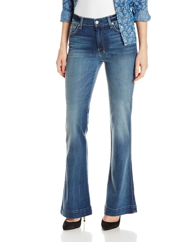 "7 For All Mankind Women's Slim Trouser Flare Jean, Sadie Medium Sanded 2, 32. Flared jean in 10-ounce stretch denim featuring whiskering at hips and fading to the knee. Inseam: 34.5"", Front Rise: 9"", Leg opening: 21""."