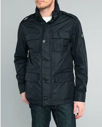 Black Military Jacket: Hackett Black Aston Martin Field Nylon Parka
