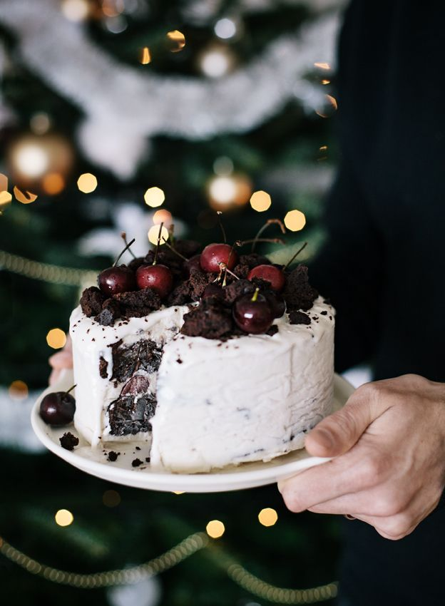 Fudge Ice Cream Cake with Cherries via Call me Cupcake