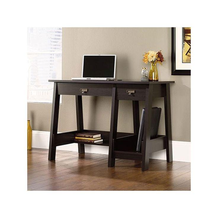Sauder Trestle Desk In Jamocha Wood