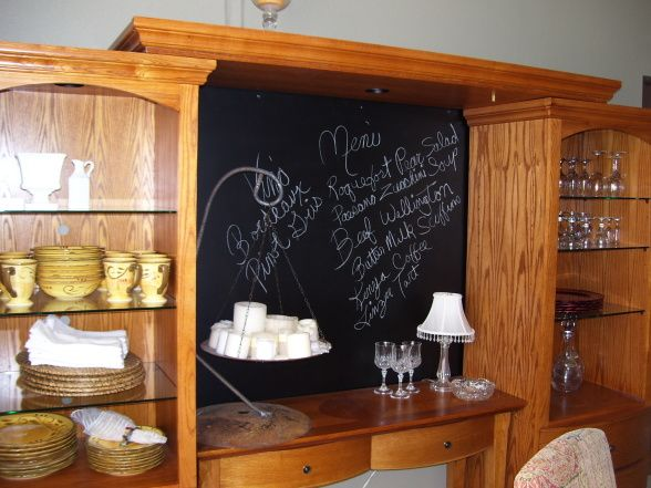 Repurposed For a Menu in the dining room.   I love this idea. I'm thinking if the back is TOO big... one could use the idea and put a framed chalkboard in the middle with shelves on the sides.. any number of possibilities. Repurposed Entertainment Center & Sofa Table as a Dining Room Hutch with some added flare.  Plywood enhanced with blackboard paint and a one-of-a kind candle holder made with rebar., , Dining Rooms Design