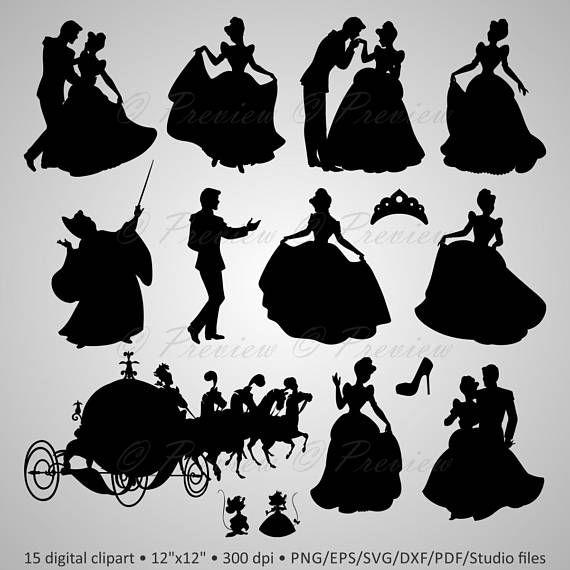 Buy 2 Get 1 Free Digital Clipart Silhouettes Cinderella Etsy Disney Princess Silhouette Disney Characters Silhouettes Disney Silhouettes