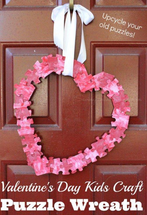 Valentine's day kids craft puzzle wreath