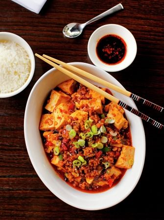 Bean curd with Lau's spicy Ma Po sauce