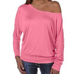 Ladies Flowy Off Shoulder LS Shirt