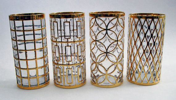 4 Gold & Crystal 16 oz Tumblers Imperial by AntiquesNOldies