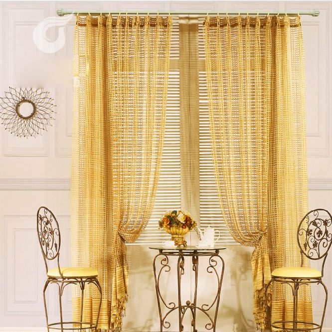 Perfect Gold Hollow Out High End Privacy Sheer Curtains, Buy Gold Sheer Curtains, Cheap  Curtains Sale