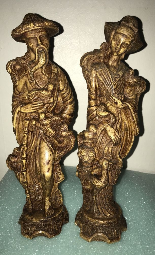 Asian Sculpture Of Man and women Holding Birds-carved Resin-Signed RB #unknown