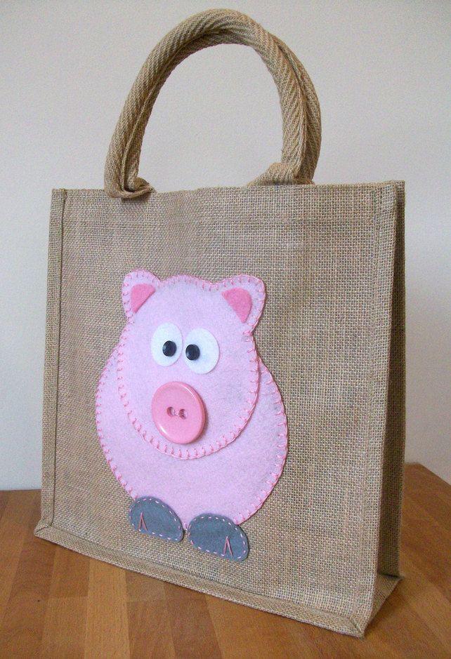 Natural Jute Hessian Animal Medium Shopping Bag -  Felt  Pig Motif £12.50