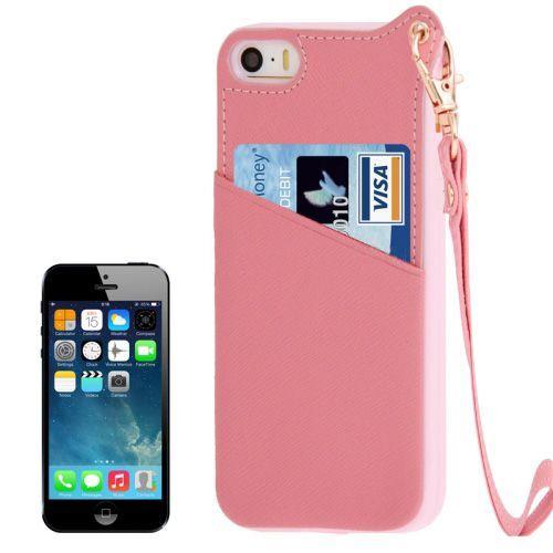 Roze backcover hoesje met pasjeshouders voor iPhone 5 / 5s