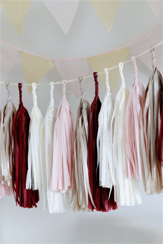 Dusty blush Tassel Garland Banner!  TISSUE PAPER TASSEL GARLAND BEAUTIFUL ADDITION TO YOUR PARTY!  Tassel garland is made from premium Satin Wraps tissue paper and built on satin ribbon or decorative rope with tassels that range from 18-14 (45-35cm). Tassels can be easily moved around so you can create a fuller or sparse look.  Tassels can be on a matching ribbon, twine or decorative rope. Please choose at the drop down menu. COLORS:  - dusty pink - champagne - burgundy - golden reflections…