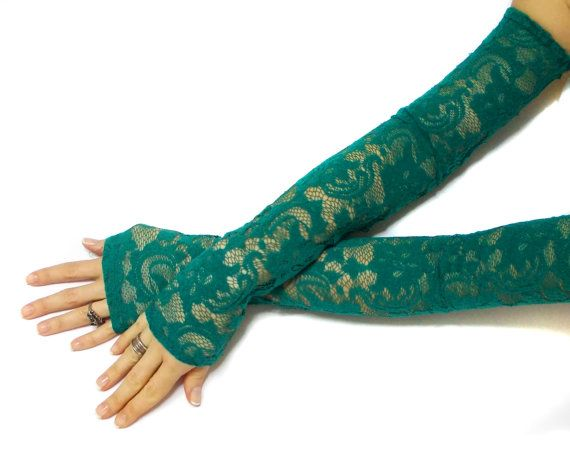 Gloves for a party or weeding day.  Stunning French Lace Fingerless Long Gloves for Brides with beautiful floral patterns ...   This gloves are soft