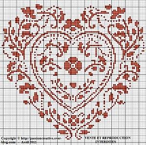 Grille gratuite point de croix : Coeur vermillon - Le blog de Isabelle