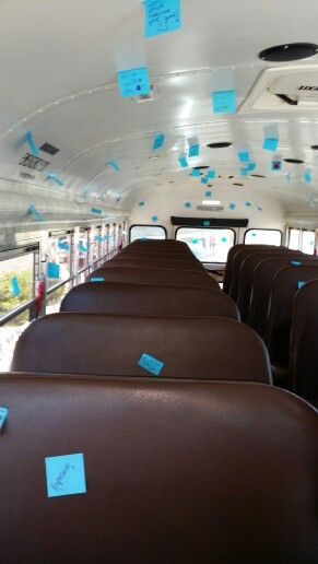 Inspirational sticky notes from cheerleaders to basketball team on their way to State!!!  Atoka HS - Wampus Cats