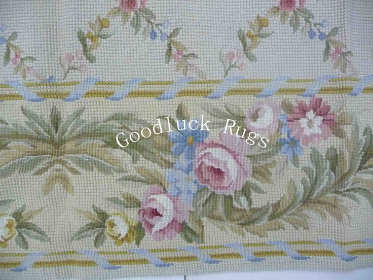 200cmx300cm Handmade Floral Roses Wool Portuguese Needlepoint Area Rug Brand New