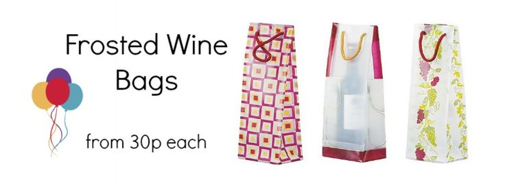 Frosted Wine Bags - From 30p each! Don't hide your wine or bubbly in a boring bag... Show it off in these wonderful frosted designs and colours!