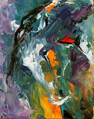 Artists Of Texas Contemporary Paintings and Art - Summer Horse 40 by Texas Artist Laurie Pace