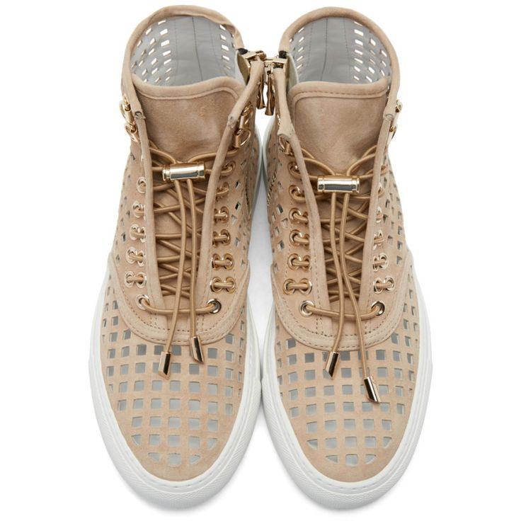 Balmain - Beige Suede Perforated High-Top Sneakers