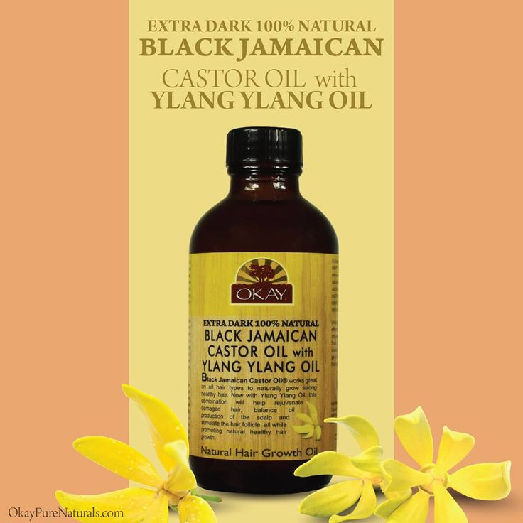 Black Jamaican Castor Oil® works great on all hair types to naturally grow strong healthy hair. Now with Ylang Ylang Oil, this combination will help rejuvenate damaged hair, balance oil production of the scalp and stimulate the hair follicle, all while promoting natural healthy hair growth. You can find this product on OkayPureNaturals.com #okay #okaypurenaturals #ylanylang #extradark #blackjamaican #castor #oil #hair #scalp #healthy #growth