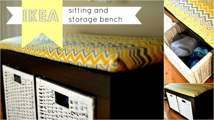 Turn your IKEA shelving unit into a perfect sitting and storage bench.