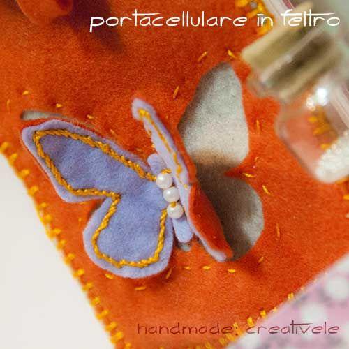 creativEle: Porta cellulare in feltro con farfalla