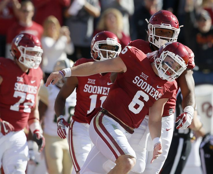 Oklahoma's Baker Mayfield (6) celebrates with Samaje Perine (32) after scoring a touchdown during a college football game between the University of Oklahoma Sooners (OU) and the Baylor Bears (BU) at Gaylord Family-Oklahoma Memorial Stadium in Norman, Okla., Saturday, Nov. 12, 2016. Photo by Bryan Terry, The Oklahoman