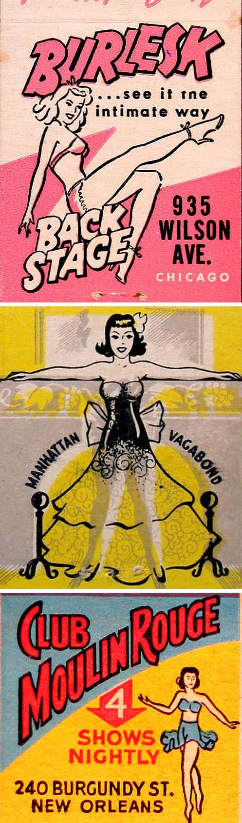 Vintage Burlesque Matchbook Covers...having vintage-style matches to give away is a great idea!