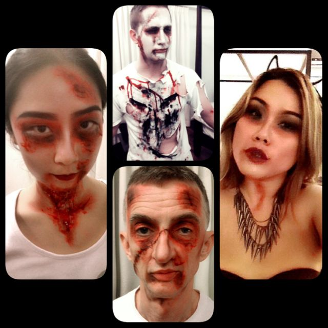 Halloween 'zombie' party make up by me. Spooky!!