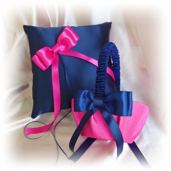 Wedding Flower Girl Basket Ring BearerPillow Navy Blue Fuchsia Pink, Wedding Pillows Baskets, Ceremony Decor. $65.00, via Etsy.