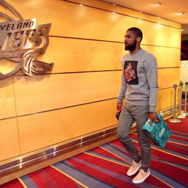 Kyrie Irving Wears Dior Homme Sweatshirt, Louis Vuitton Pants and Common Projects Sneakers for Cavs vs Celtics | UpscaleHype