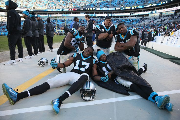 Teammates Jerricho Cotchery #82, Devin Funchess #17, Ted Ginn #19, Jonathan Stewart #28 and Cam Newton #1 of the Carolina Panthers celebrate after defeating the Washington Redskins 44-16 at Bank of America Stadium on November 22, 2015 in Charlotte, North Carolina. (Nov. 21, 2015 - Source: Streeter Lecka/Getty Images North America)
