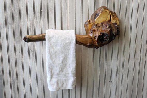 Driftwood Towel Rack or Holder - Natural Reclaimed Wood Hand Towel Holder Bar
