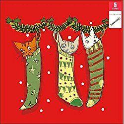 Samaritans Pack Of 5 Festive Cats Charity Christmas Cards Xmas Card Packs