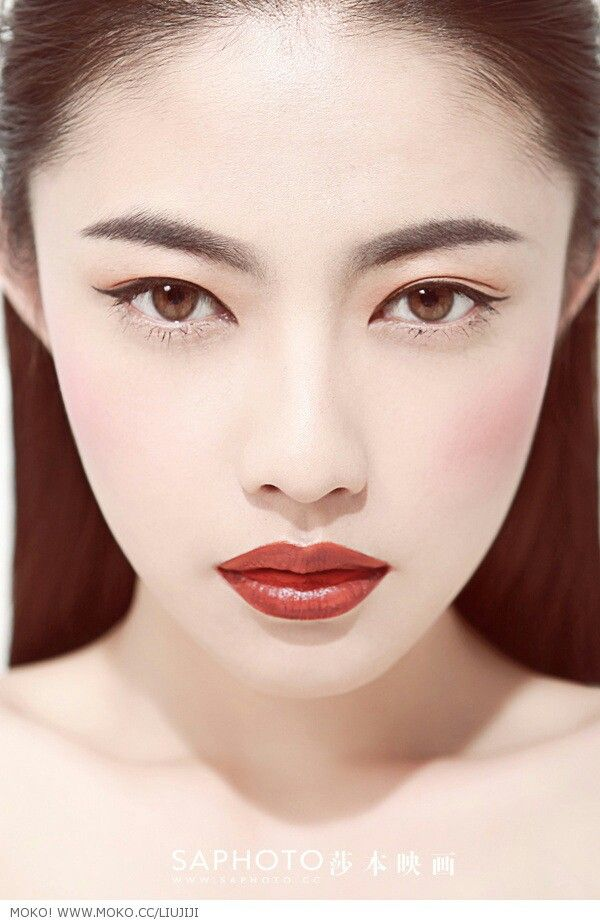 Asian #makeup#red lips