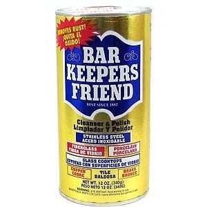 Bar Keepers Friend® Cleanser & Polish - Non Abrasive Powder  Removes rust, lime and hard water stains. Use on porcelain, stainless steel, nonporous solid surfaces, chrome, copper & brass, fiberglass & acrylic, tile & grout.: Bar Keeper Friends, Tricks, Steel Pan, Removal Rust, Friends Cleanser, Bar Keepers Friend, Life Easier, Clean Products, Stainless Steel