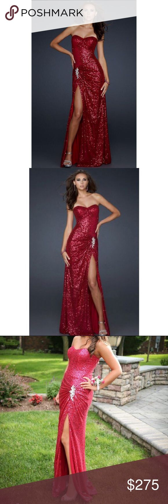 La Femme Sequin Prom Gown Gorgeous La Femme prom gown. I wore it once to my prom I was really in love with it. Hoping to sell it to someone that will enjoy it as much as I did. Color is red/raspberry all sequins.   Size 2. Dress retailed for over $500. I am 5'1 so I did get the dress hemmed to ft my height.  Really a gorgeous gown. Make me an offer :) La Femme Dresses Prom #AllThatIsRed