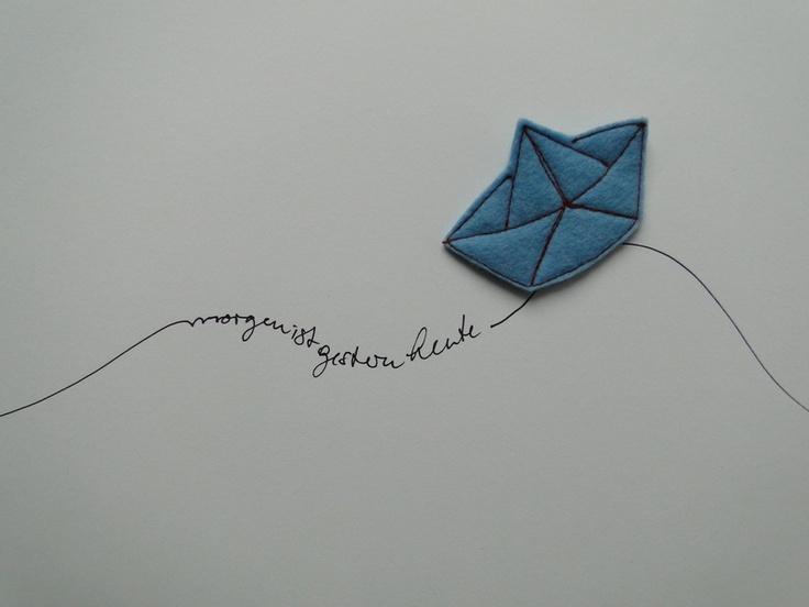paper boat felt brooch