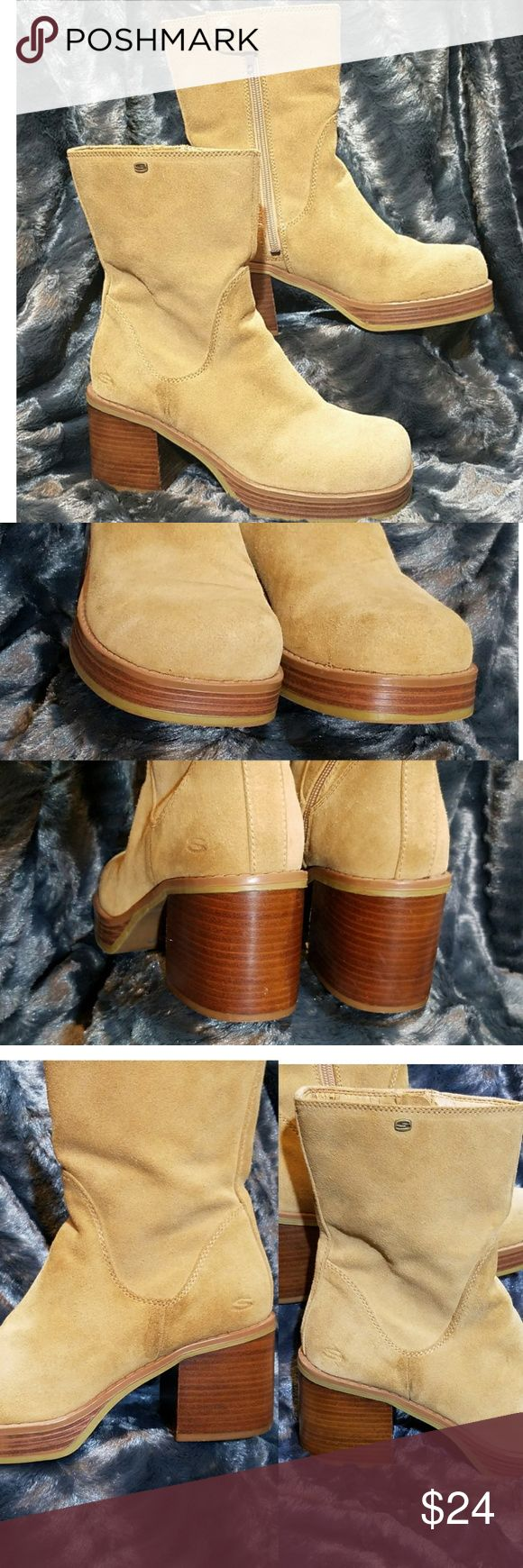 Flash Sale🎁Skechers Suede Leather Mid-Calf Boots Stylish, comfortable chunky suede mid-calf boots. Chunky style block wooden heel. Gently used, please see photos. Great condition!  Retail: $79 Skechers Shoes Heeled Boots